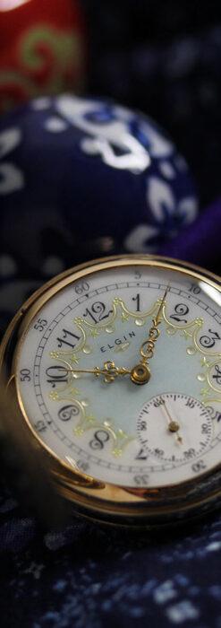 細やかな装飾の光るエルジンの金無垢アンティーク懐中時計 【1900年頃】-P2301-1