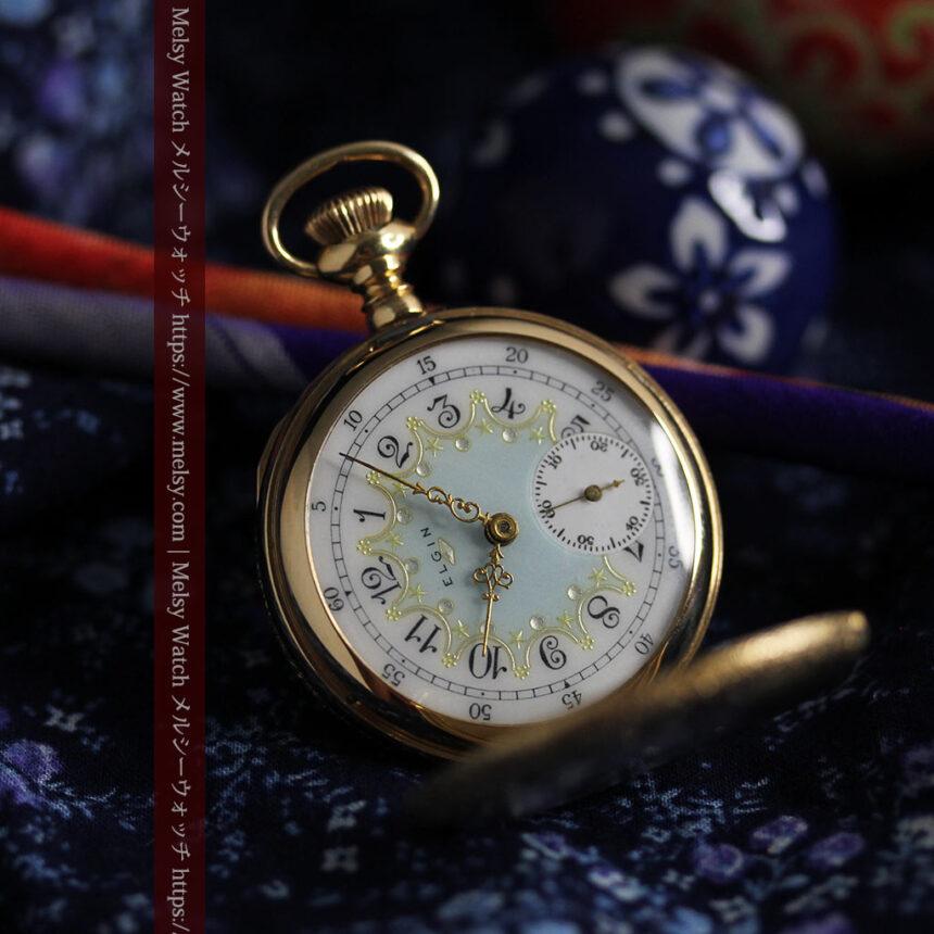 細やかな装飾の光るエルジンの金無垢アンティーク懐中時計 【1900年頃】-P2301-10