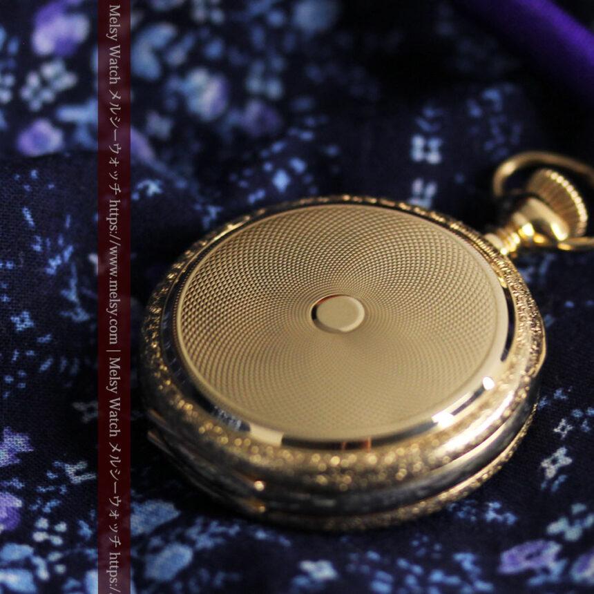 細やかな装飾の光るエルジンの金無垢アンティーク懐中時計 【1900年頃】-P2301-12