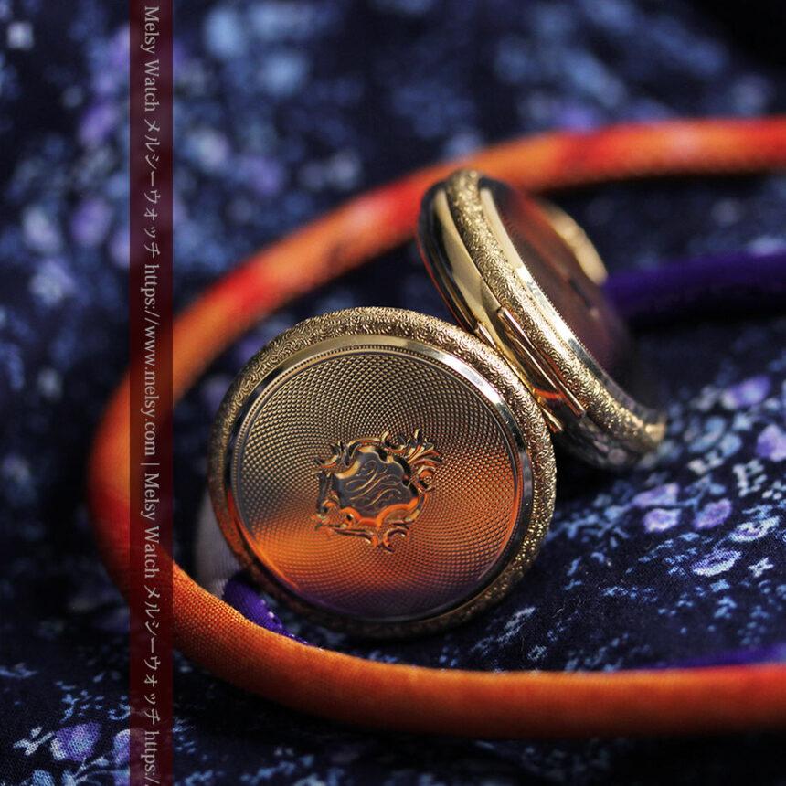 細やかな装飾の光るエルジンの金無垢アンティーク懐中時計 【1900年頃】-P2301-13