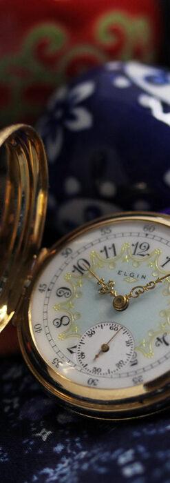 細やかな装飾の光るエルジンの金無垢アンティーク懐中時計 【1900年頃】-P2301-14