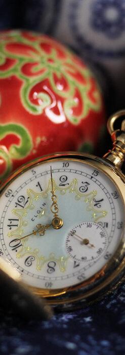 細やかな装飾の光るエルジンの金無垢アンティーク懐中時計 【1900年頃】-P2301-15