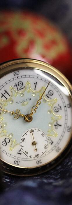 細やかな装飾の光るエルジンの金無垢アンティーク懐中時計 【1900年頃】-P2301-16