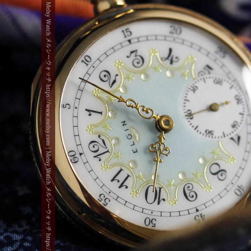 細やかな装飾の光るエルジンの金無垢アンティーク懐中時計 【1900年頃】-P2301-17