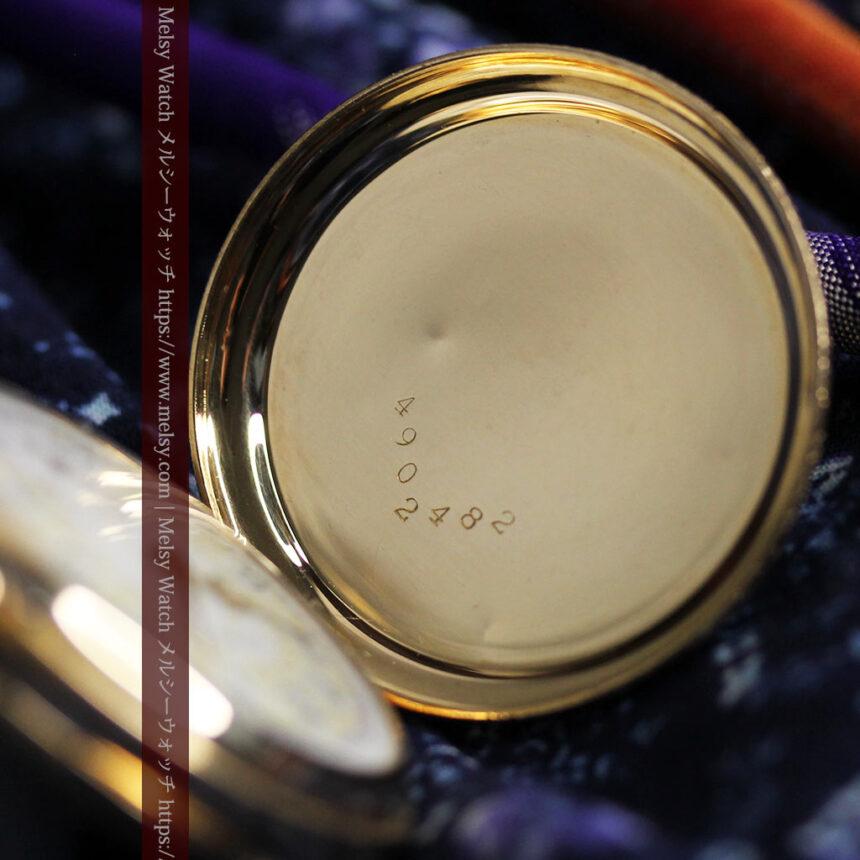 細やかな装飾の光るエルジンの金無垢アンティーク懐中時計 【1900年頃】-P2301-18
