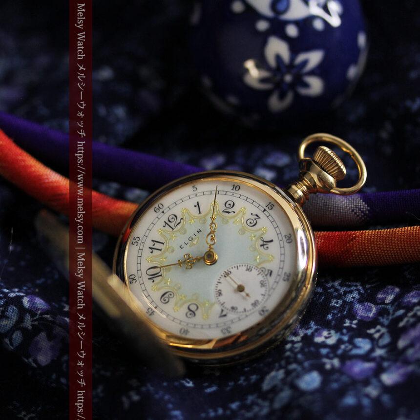 細やかな装飾の光るエルジンの金無垢アンティーク懐中時計 【1900年頃】-P2301-2