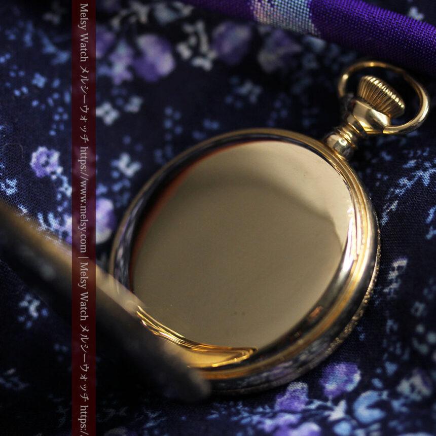 細やかな装飾の光るエルジンの金無垢アンティーク懐中時計 【1900年頃】-P2301-20