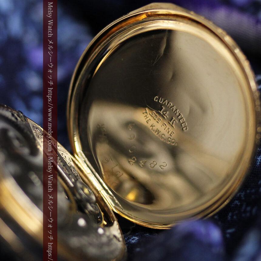 細やかな装飾の光るエルジンの金無垢アンティーク懐中時計 【1900年頃】-P2301-21