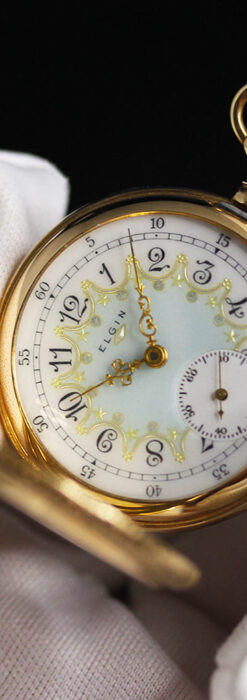 細やかな装飾の光るエルジンの金無垢アンティーク懐中時計 【1900年頃】-P2301-22