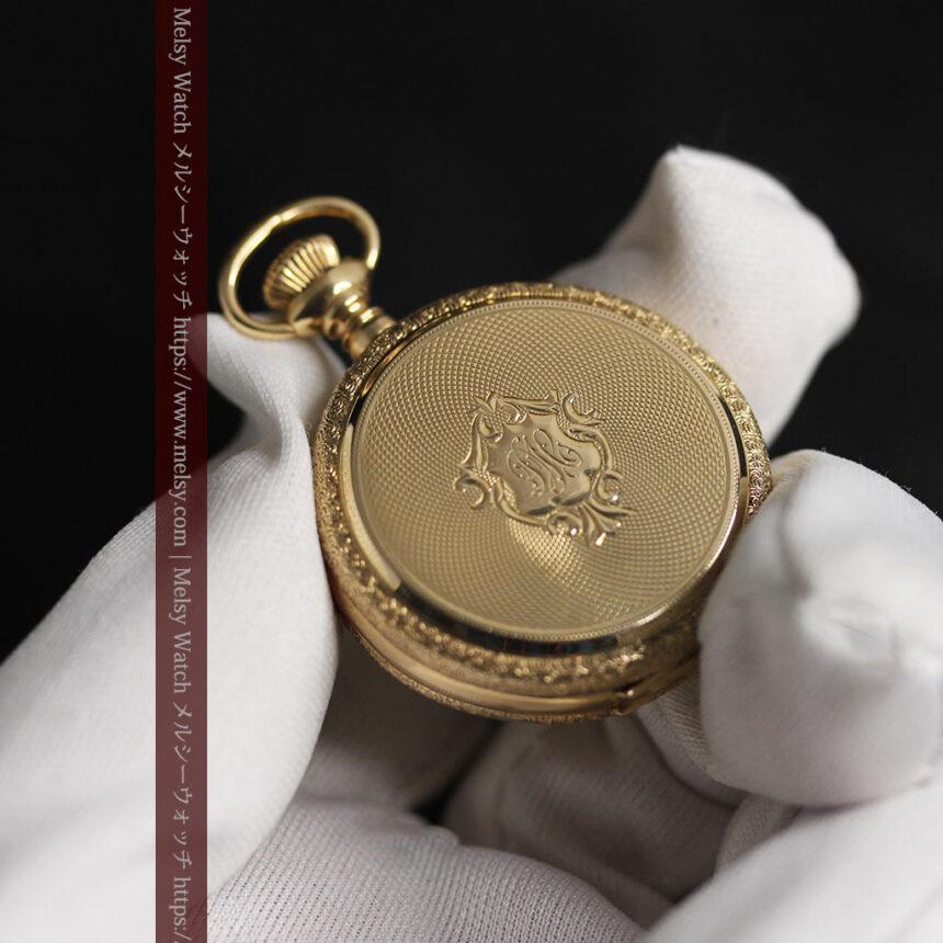 細やかな装飾の光るエルジンの金無垢アンティーク懐中時計 【1900年頃】-P2301-23