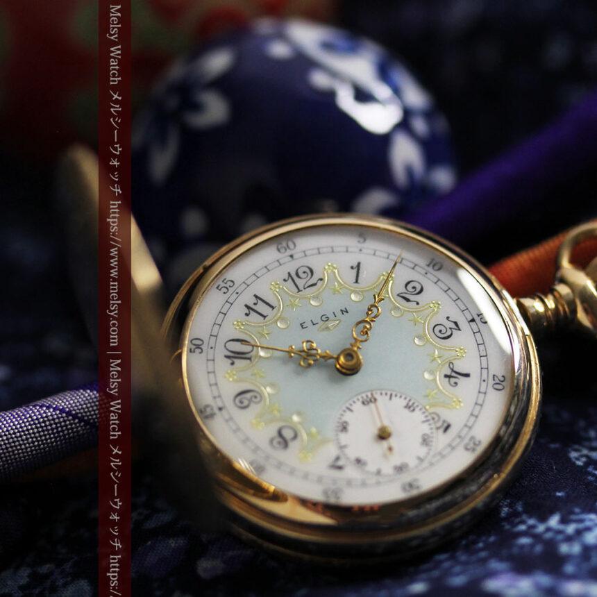 細やかな装飾の光るエルジンの金無垢アンティーク懐中時計 【1900年頃】-P2301-3