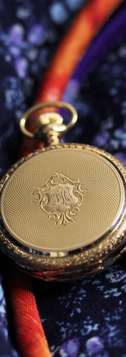 細やかな装飾の光るエルジンの金無垢アンティーク懐中時計 【1900年頃】-P2301-4