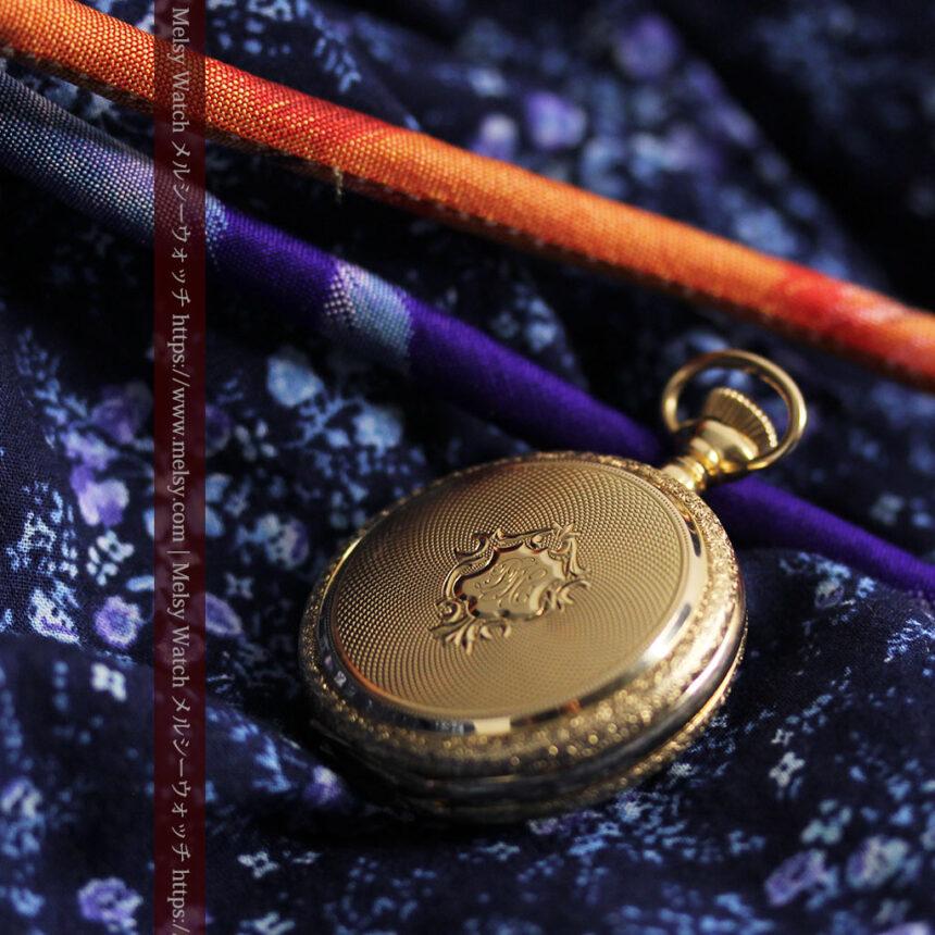 細やかな装飾の光るエルジンの金無垢アンティーク懐中時計 【1900年頃】-P2301-6