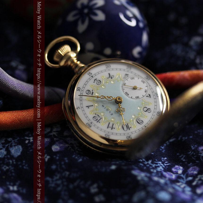 細やかな装飾の光るエルジンの金無垢アンティーク懐中時計 【1900年頃】-P2301-7