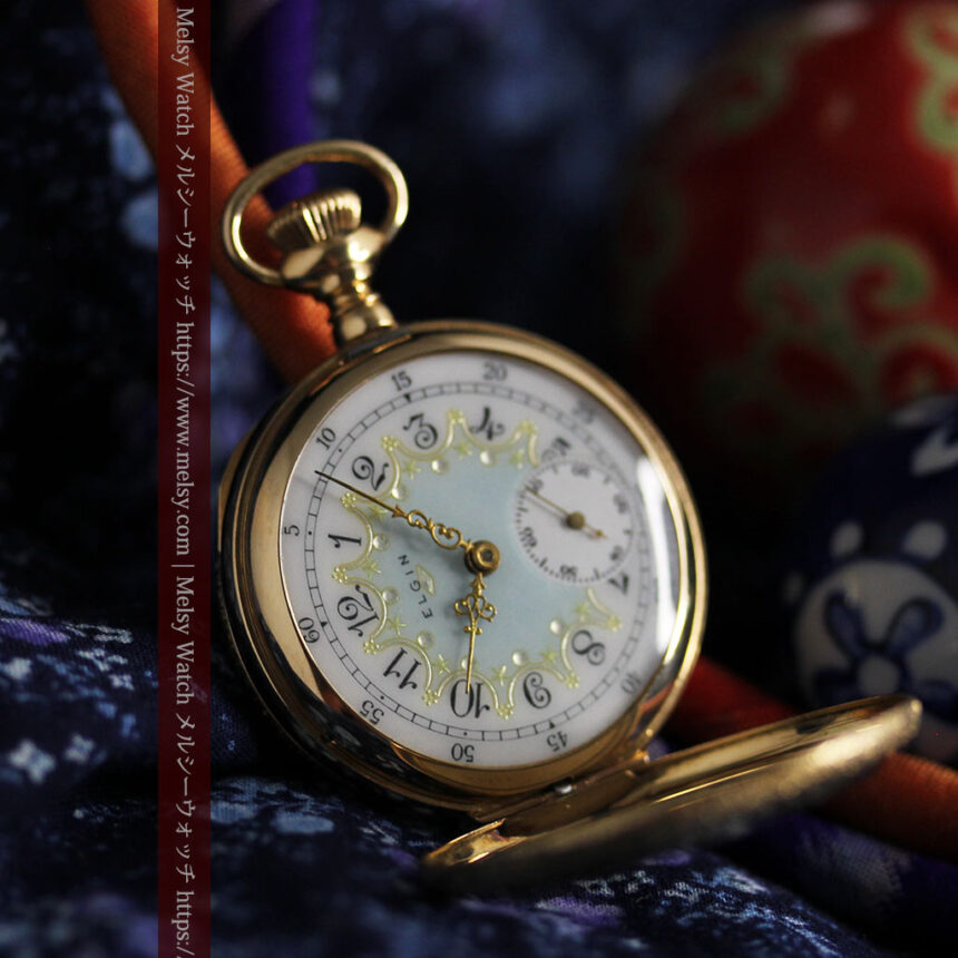 細やかな装飾の光るエルジンの金無垢アンティーク懐中時計 【1900年頃】-P2301-8