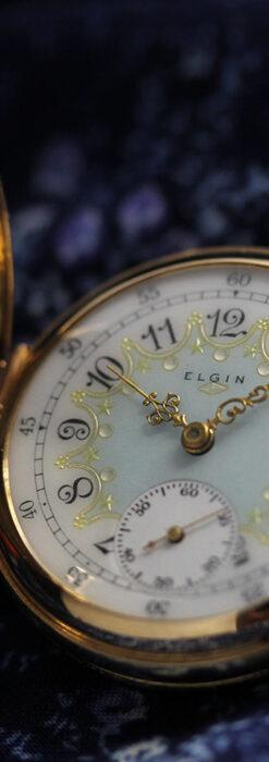 細やかな装飾の光るエルジンの金無垢アンティーク懐中時計 【1900年頃】-P2301-9