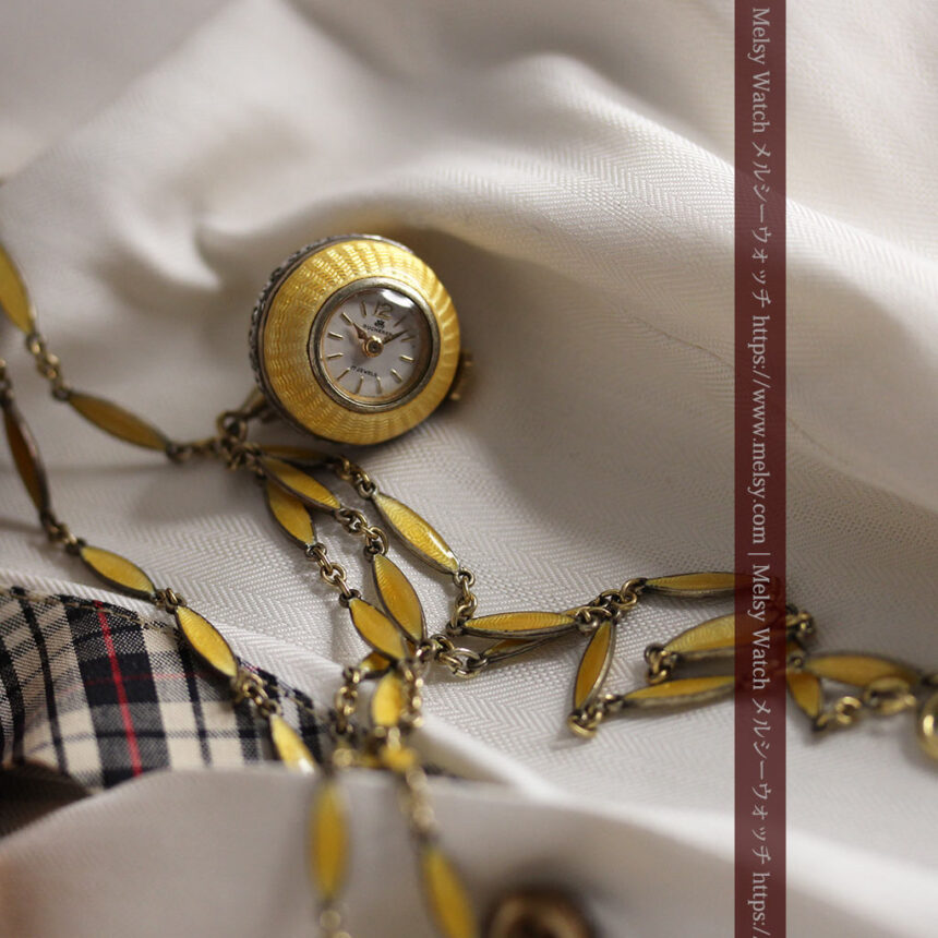 ブヘラの銀無垢ネックレス時計 梔子色のエナメル装飾【1960年頃】-P2302-1