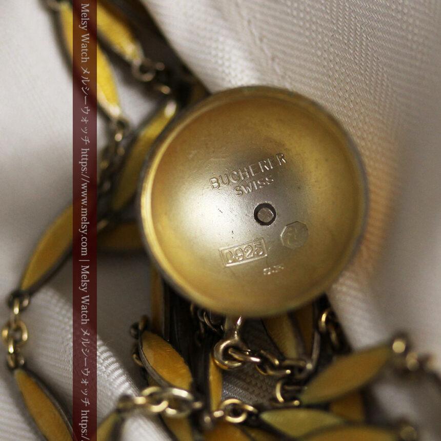 ブヘラの銀無垢ネックレス時計 梔子色のエナメル装飾【1960年頃】-P2302-17