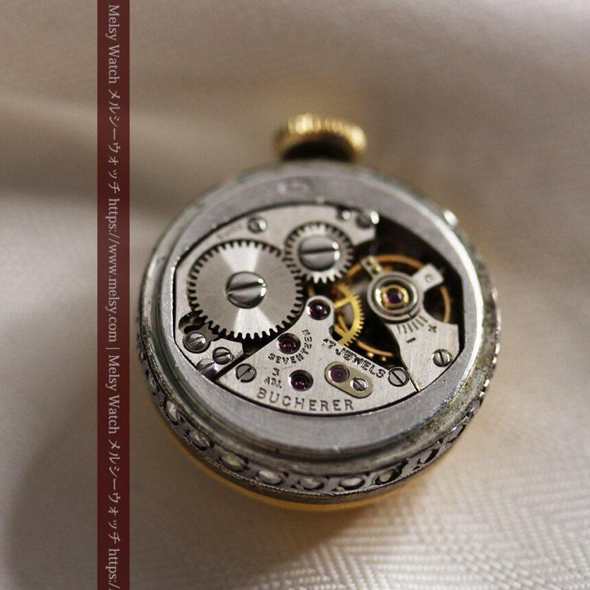 ブヘラの銀無垢ネックレス時計 梔子色のエナメル装飾【1960年頃】-P2302-18