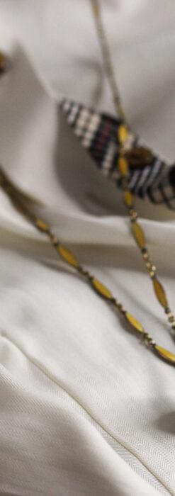 ブヘラの銀無垢ネックレス時計 梔子色のエナメル装飾【1960年頃】-P2302-3
