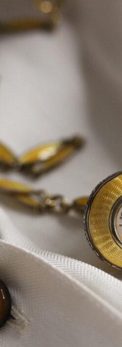 ブヘラの銀無垢ネックレス時計 梔子色のエナメル装飾【1960年頃】-P2302-6