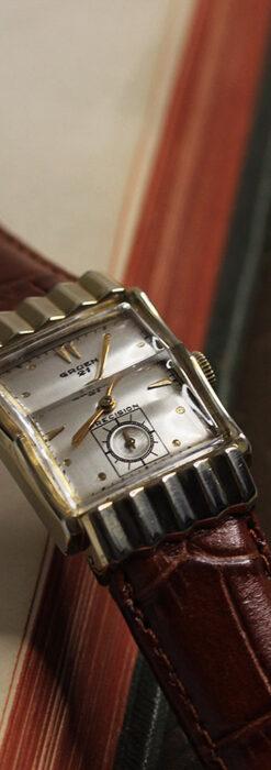 グリュエン 際立つ鋭角の煌びやかなアンティーク腕時計 【1951年頃】-W1294-10