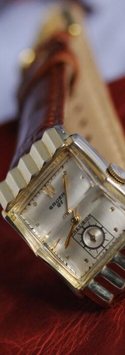 グリュエン 際立つ鋭角の煌びやかなアンティーク腕時計 【1951年頃】-W1294-11