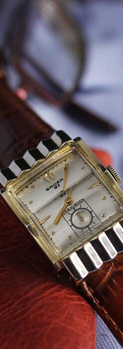 グリュエン 際立つ鋭角の煌びやかなアンティーク腕時計 【1951年頃】-W1294-13