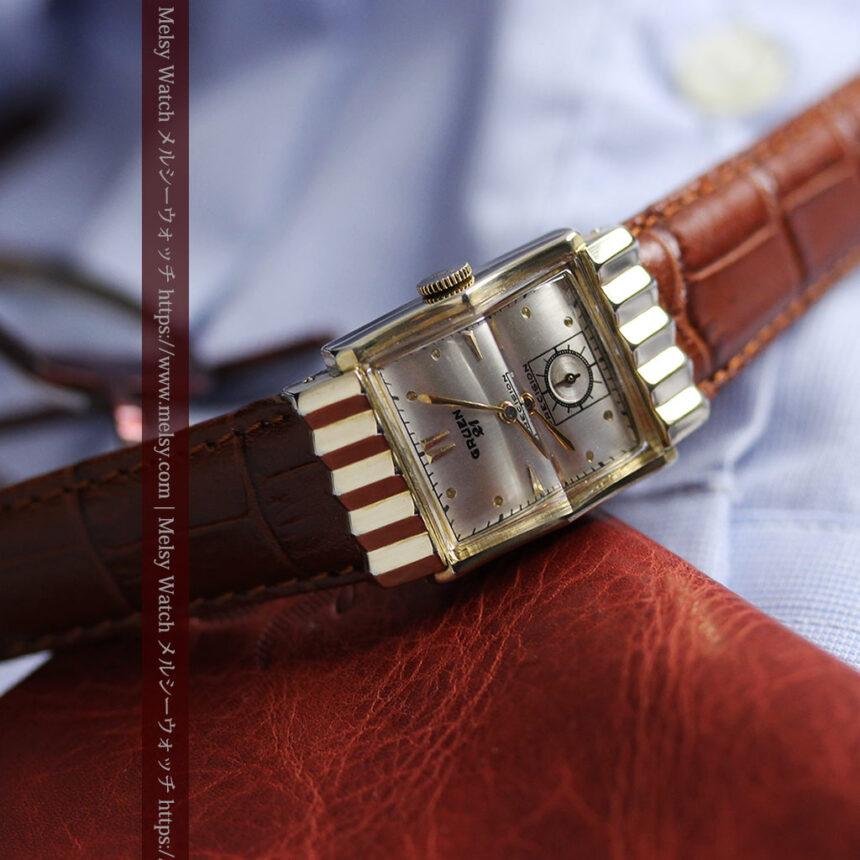 グリュエン 際立つ鋭角の煌びやかなアンティーク腕時計 【1951年頃】-W1294-16