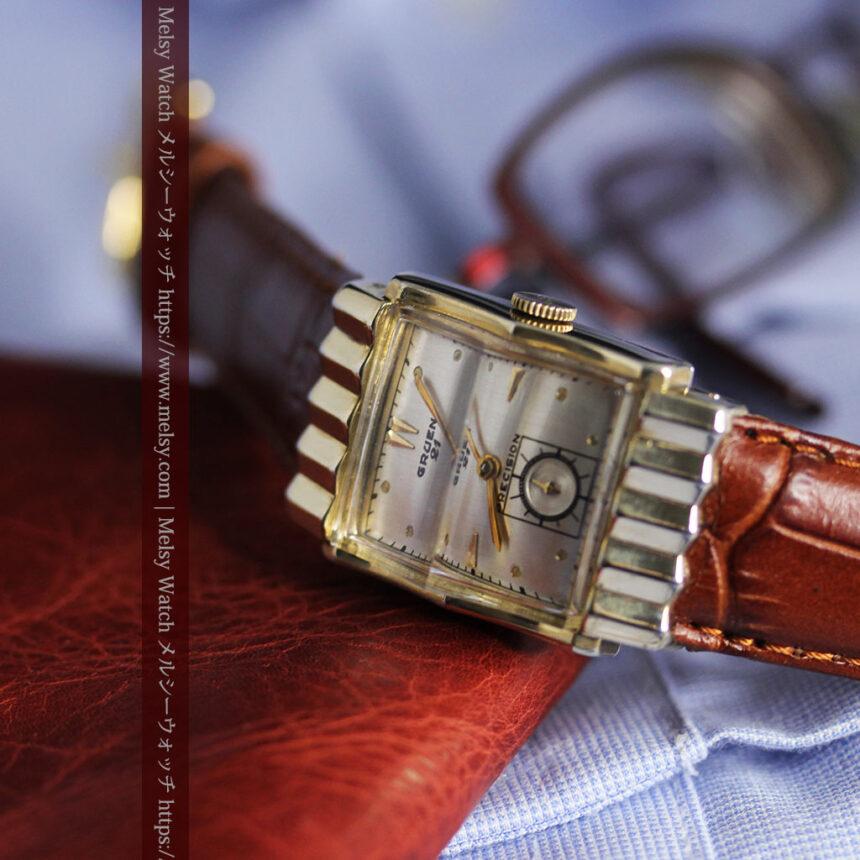 グリュエン 際立つ鋭角の煌びやかなアンティーク腕時計 【1951年頃】-W1294-17