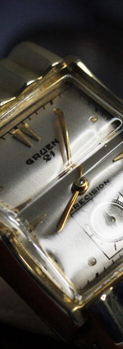 グリュエン 際立つ鋭角の煌びやかなアンティーク腕時計 【1951年頃】-W1294-18