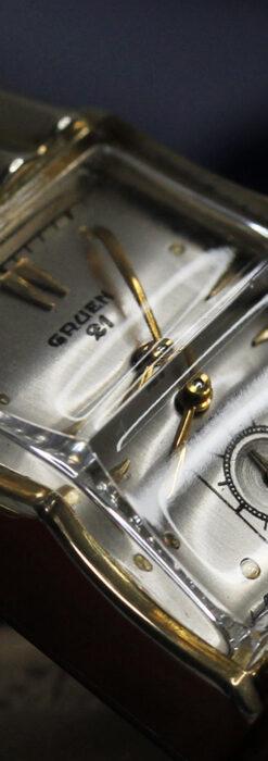 グリュエン 際立つ鋭角の煌びやかなアンティーク腕時計 【1951年頃】-W1294-19