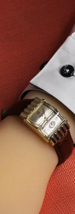 グリュエン 際立つ鋭角の煌びやかなアンティーク腕時計 【1951年頃】-W1294-27