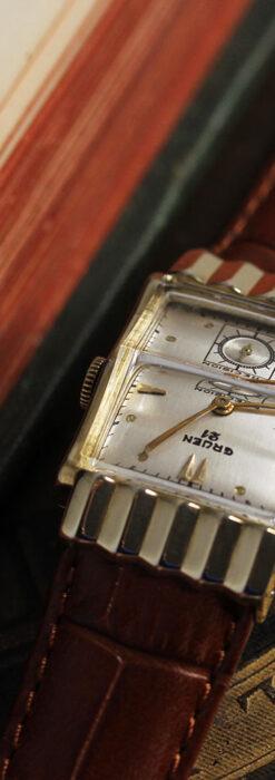 グリュエン 際立つ鋭角の煌びやかなアンティーク腕時計 【1951年頃】-W1294-5
