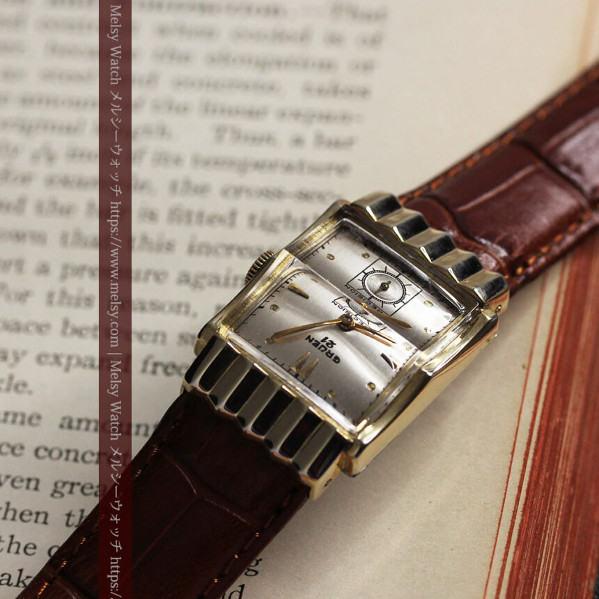 グリュエン 際立つ鋭角の煌びやかなアンティーク腕時計 【1951年頃】-W1294-9