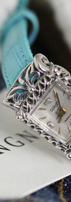 グリュエン 透かしとダイヤモンド装飾の女性用金無垢アンティーク腕時計 【1949年頃】-W1526-1