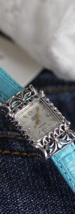 グリュエン 透かしとダイヤモンド装飾の女性用金無垢アンティーク腕時計 【1949年頃】-W1526-2