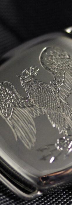 皇帝ナポレオンの鷲の彫り エルジンの銀無垢アンティーク腕時計 【1910年頃】-W1527-1