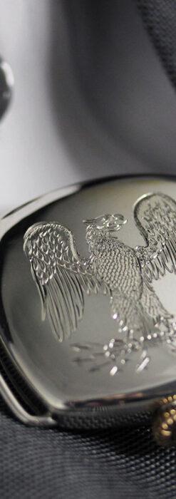 皇帝ナポレオンの鷲の彫り エルジンの銀無垢アンティーク腕時計 【1910年頃】-W1527-2