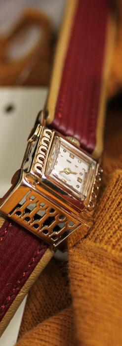 ジャガールクルト 立体感ある装飾の女性用金無垢アンティーク腕時計 【1950年頃】-W1528-1