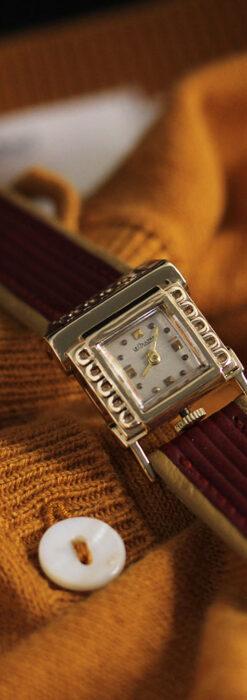 ジャガールクルト 立体感ある装飾の女性用金無垢アンティーク腕時計 【1950年頃】-W1528-2