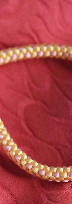 懐中時計用の絹製組み紐・時計紐【砥粉色&撫子色】-CS8032-1