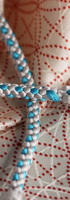 懐中時計用の絹製組み紐・時計紐【白鼠&ターコイズブルー】-CS8035-2