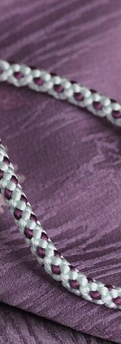 懐中時計用の絹製組み紐・時計紐【白藍&滅紫】-CS8036-1