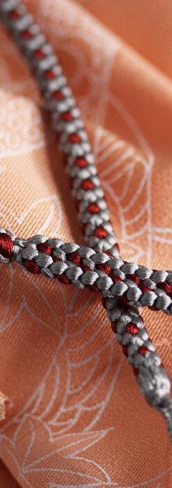 懐中時計用の絹製組み紐・時計紐【錫色&葡萄茶】-CS8038-2