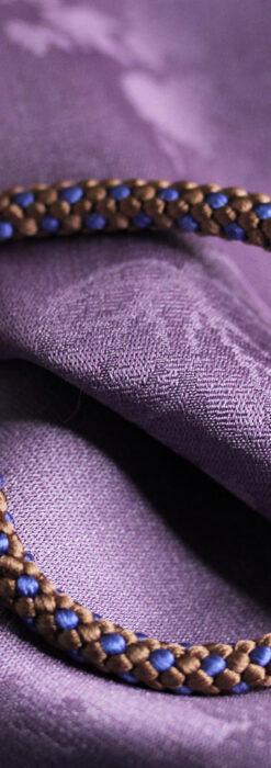 懐中時計用の絹製組み紐・時計紐【木枯茶&群青色】-CS8040-1