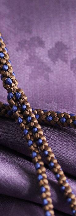 懐中時計用の絹製組み紐・時計紐【木枯茶&群青色】-CS8040-2