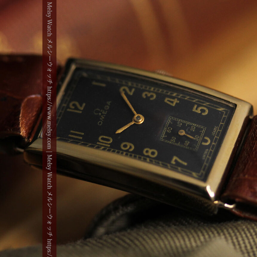 オメガのシックな黒色文字盤 品ある縦長アンティーク腕時計 【1940年製】-W1529-16