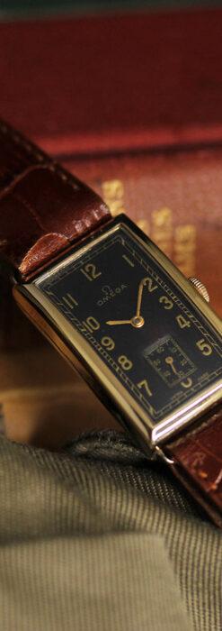 オメガのシックな黒色文字盤 品ある縦長アンティーク腕時計 【1940年製】-W1529-17