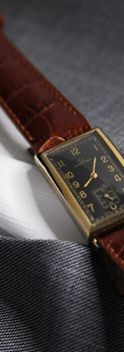 オメガのシックな黒色文字盤 品ある縦長アンティーク腕時計 【1940年製】-W1529-18